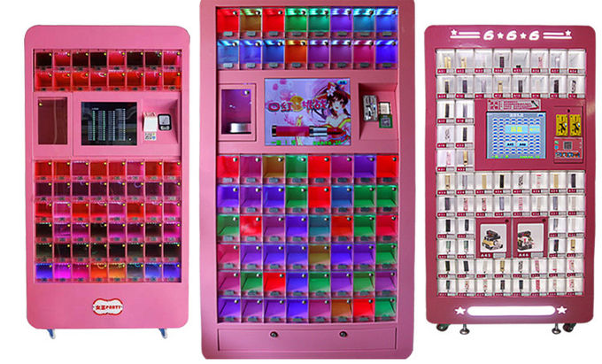 Pink Commercial Arcade Cosmetic Vending Machine For Shopping Center